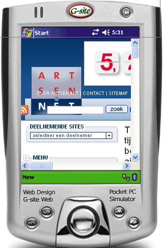 Zo ziet www.artsennet.nl er ongeveer uit op een PDA